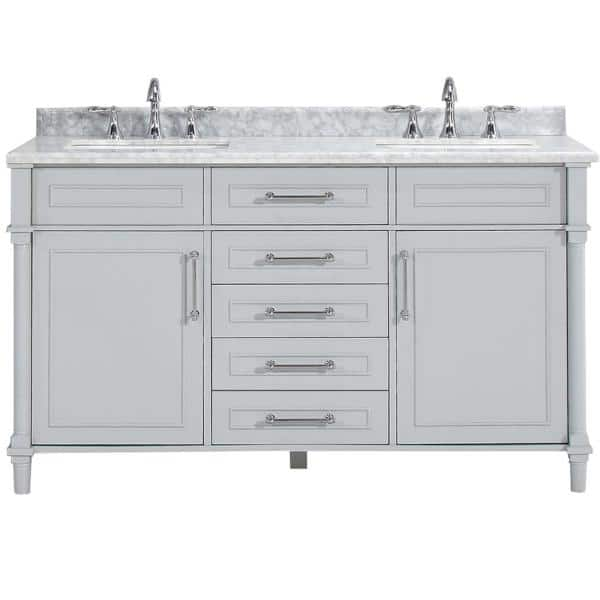 Home Decorators Collection Aberdeen 60 In W X 22 In D Double Bath Vanity In Dove Grey With Carrara Marble Top With White Sinks Aberdeen 60 The Home Depot