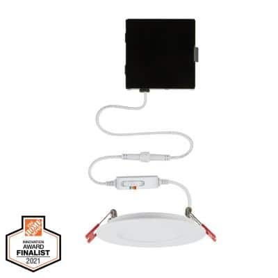 Ultra Slim High Lumen 4 in. Selectable CCT New Construction and Remodel Integrated LED Recessed Lighting Kit