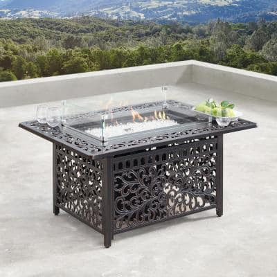 48 in. Rectangular Propane Fire Table with Wind Blockers, Fire Beads, Lid, and Covers in Copper Finish