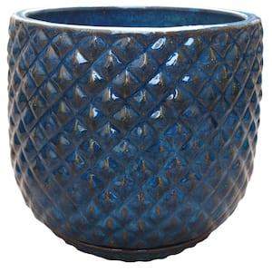 18 in. Blue Pinequilt Ceramic Planter