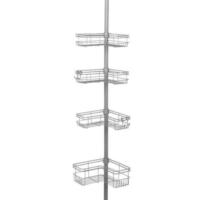 4-Tier Tension Pole Shower Caddy in Satin Nickel