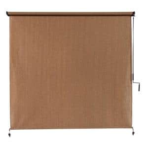 Walnut Cordless UV Blocking Fade Resistant Fabric Exterior Roller Shade 72 in. W x 96 in. L