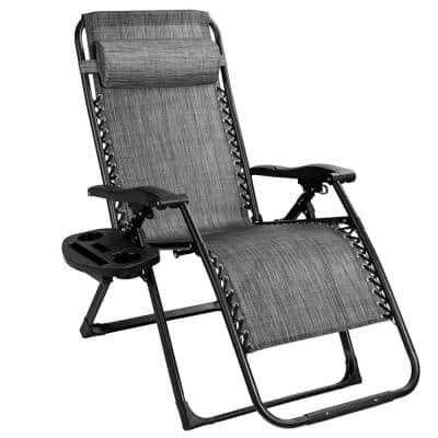 Black Steel Folding Recliner Outdoor Oversize Patio Heavy-Duty Lounge Chair