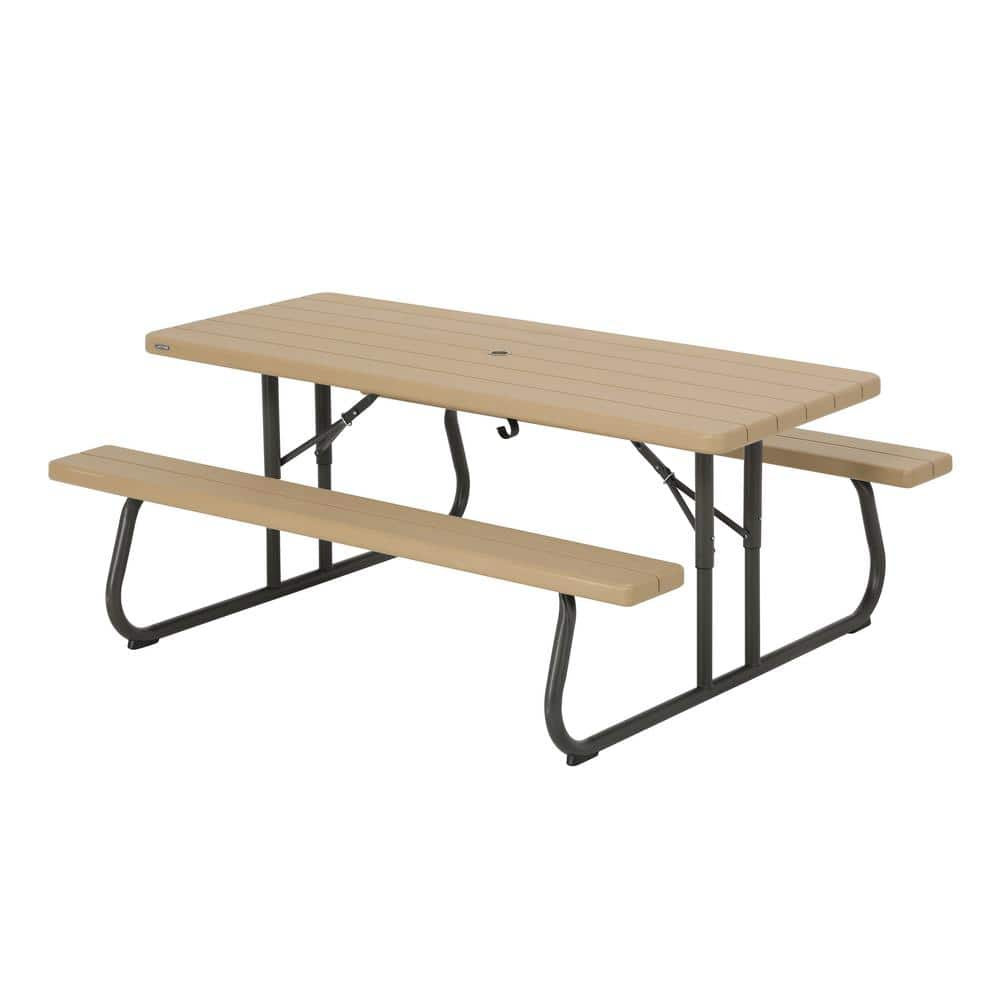 Lifetime 6 Ft Folding Picnic Table Heather Beige 60244 The Home Depot