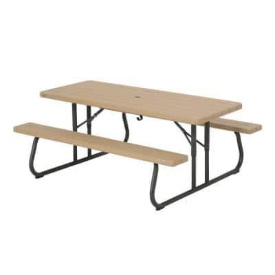 6 ft. Folding Picnic Table: Heather Beige