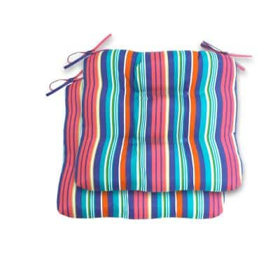 Antilles Stripe Sail Blue Square Tufted Outdoor Dining Seat Cushion (2-Pack)