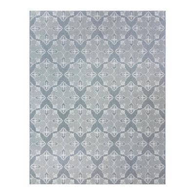 Mickey Mouse Gray/Cream 8 ft. x 10 ft. Medallion Indoor/Outdoor Area Rug