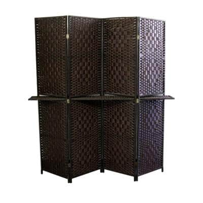 Espresso Brown Paper Straw Weave W/ One 63 in. L Shelving 4-Panel Screen Handcrafted Room Divider