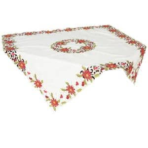 34 in. x 34 in. Poinsettia Lace Embroidered Cutwork Table Topper