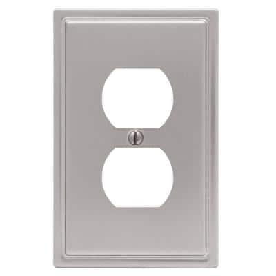 Moderne Brushed Nickel 1-Gang Duplex Outlet Steel Wall Plate (4-Pack)
