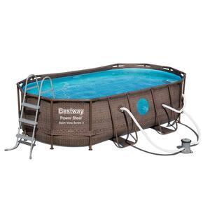 Bestway Power Steel Swim Vista 14 ft. x 8 ft. x 3.3 ft. Swimming Pool Set with Pump