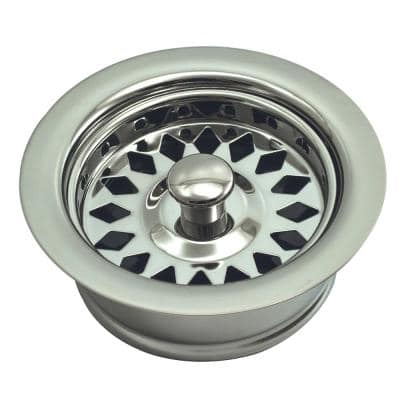 Push-In Kitchen Garbage Disposal Assembly (Flange/Stopper/Strainer) in Polished Nickel PVD - Fits In-Sink-Erator