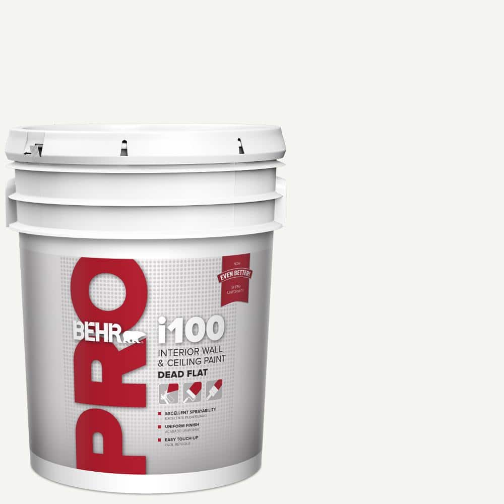 Behr Pro 5 Gal I100 White Base Dead Flat Interior Paint Pr10505 The Home Depot