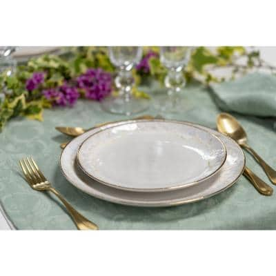 Taormina White and Gold Salad Plate (Set of 6)