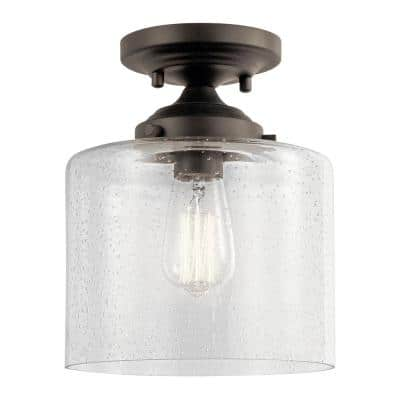 Winslow 1-Light Olde Bronze Semi-Flush Mount Ceiling Light with Clear Seeded Glass
