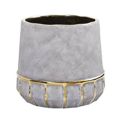 8.5 in. Regal Stone Decorative Planter with Gold Accents