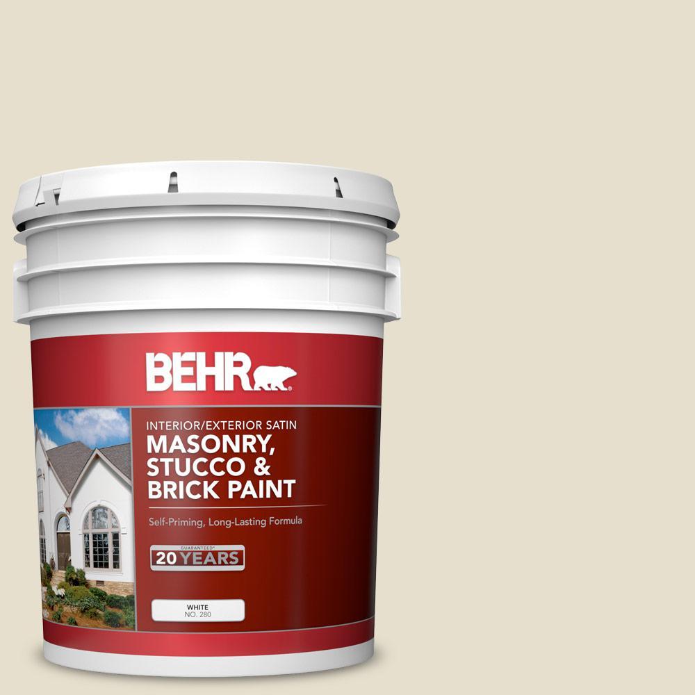 5 gal. #MS-33 Eggshell White Satin Interior/Exterior Masonry, Stucco and Brick Paint