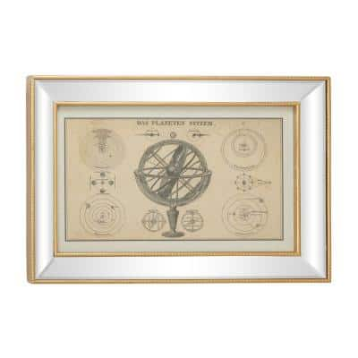 28 in. Large Vintage Style Planetary System Diagram Armillary Illustration Textile in Rectangular Mirror and Gold Frame