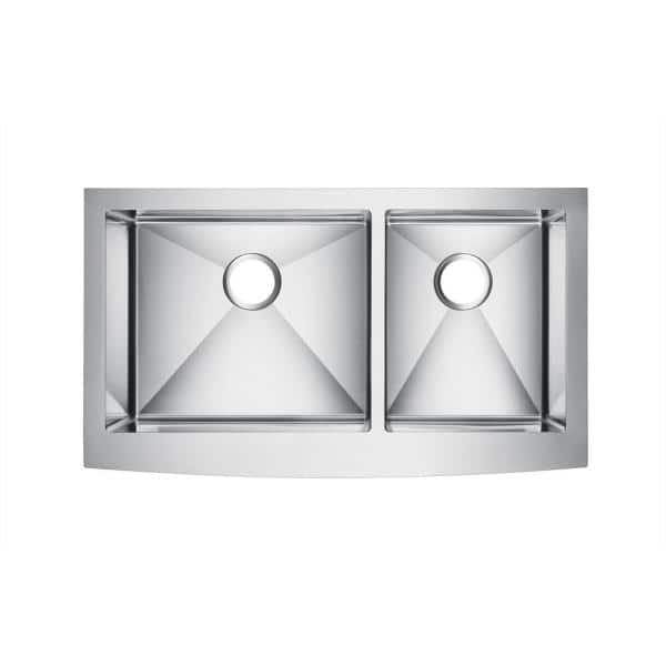 Barclay Damita Farmhouse Apron Front Stainless Steel 33 In 60 40 Double Bowl Kitchen Sink Fssdb2510 Ss The Home Depot
