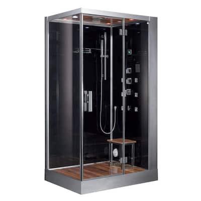 47 in. x 35.4 in. x 89.1 in. Steam Shower Enclosure Kit in Black