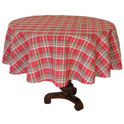 70 in. Holiday Tartan Christmas Round Tablecloth