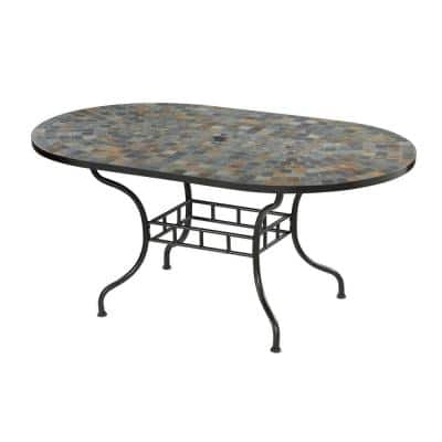 Stone Harbor 65 in. x 40 in. Slate Tile Top Patio Dining Table