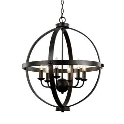 6-Light Rubbed Oil Bronze Pendant with Metal Shade
