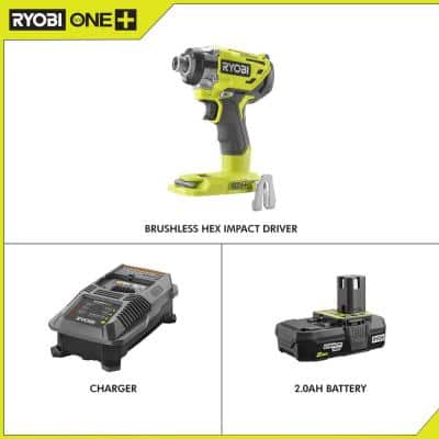 18-Volt ONE+ Cordless Brushless 3-Speed 1/4 in. Hex Impact Driver with Belt Clip with 2.0 Ah Battery and Charger Kit