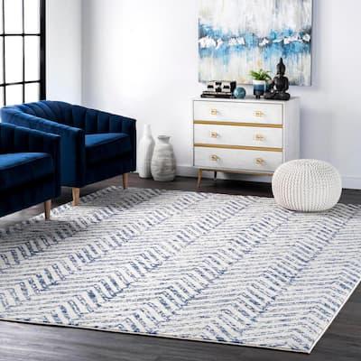 Rosanne Geometric Herringbone Blue 5 ft. x 8 ft. Area Rug