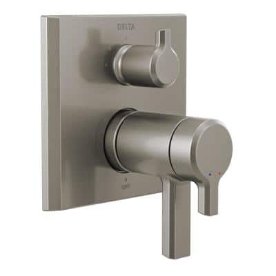 Pivotal 2-Handle Wall-Mount Valve Trim Kit with 3-Setting Integrated Diverter in Stainless (Valve not Included)