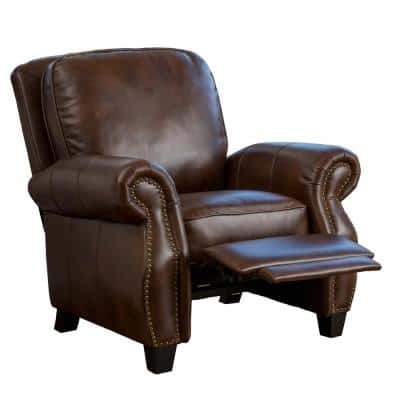 Neville 37 in. Width Big and Tall Brown Faux Leather Nailhead Trim Club Recliner