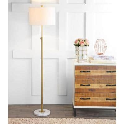 June 65 in. Metal/Marble Adjustable Brass Gold/White Floor Lamp