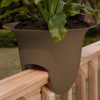 Modica 12 in. Chocolate Brown Plastic Deck Rail Planter