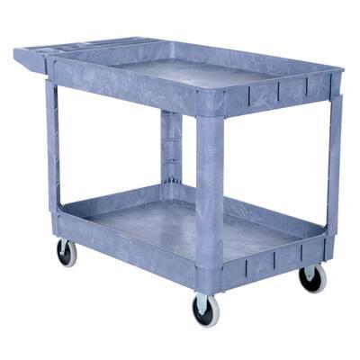 24.5 in. x 36 in. 2 Shelf Plastic Utility Cart