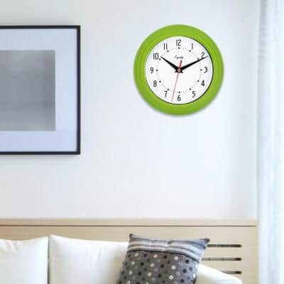 8 in. Round Green Basics Quartz Analog Wall Clock