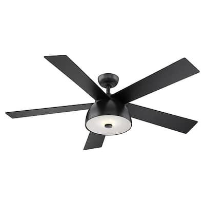 Lestat 52 in. LED Integrated Matte Black Light 5 Blade Ceiling Fan with Remote