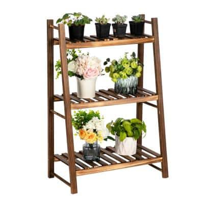 33.46 in. Indoor/Outdoor Multi-Functional Carbonized Wood Plant Stand (3-Layers)