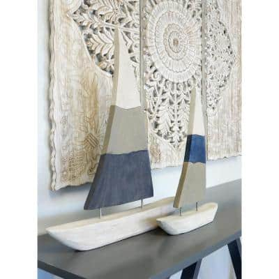 Native Sail Irregular Off White, Taupe, Navy Blue Carved Wood Table Top Sculpture
