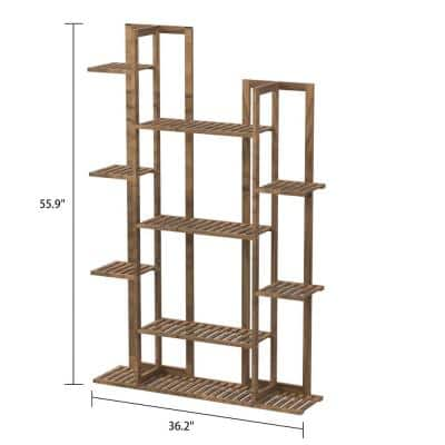 36 in. W x 8 in. D x 56 in. H Brown Wooden 7-Tier Plant Stand Indoor Outdoor Flower Rack