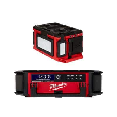 M18 Lithium-Ion Cordless PACKOUT Radio/Speaker with Built-In Charger and PACKOUT 3000 Lumens LED Light (2-Tool)