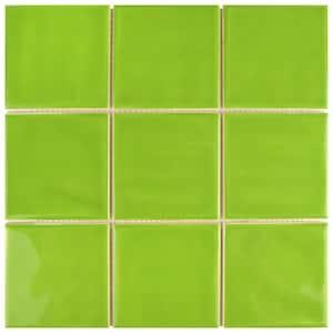 Twist Square Green Kiwi 11-3/4 in. x 11-3/4 in. Ceramic Mosaic (9.79 sq. ft. /Case)