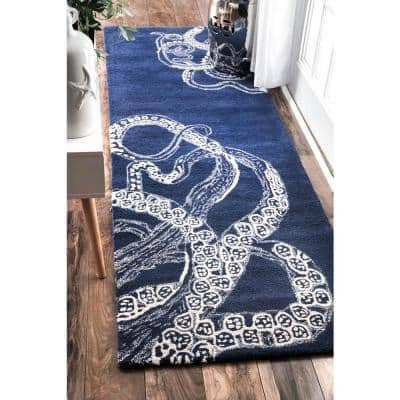 Octopus Tail Abstract Navy 3 ft. x 8 ft. Runner
