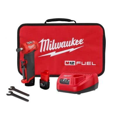 M12 FUEL 12-Volt Lithium-Ion Brushless Cordless 1/4 in. Right Angle Die Grinder Kit w/ (2) 2.0Ah Batteries