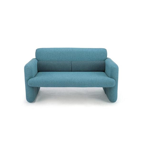 Blue Pattern Linen 2 Seater Loveseat, Sofa Cushion Support Home Depot