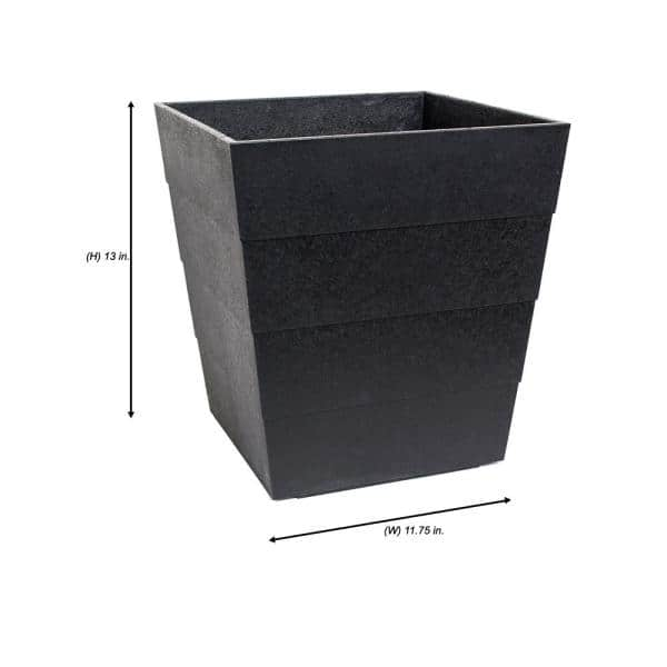 Tierra Verde Lineata 11 75 In X 13 In Slate Rubber Self Watering Planter Mt5100206cm The Home Depot