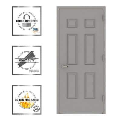 36 in. x 80 in. Gray Left-Hand 6-Panel Fire Proof Prehung Commercial Entrance Door with Welded Frame