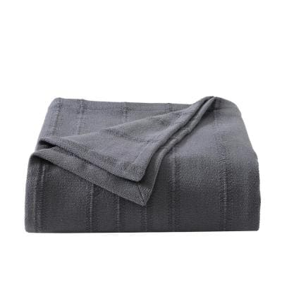 Open Stripe Cotton Charcoal Gray 1-Piece King Blanket