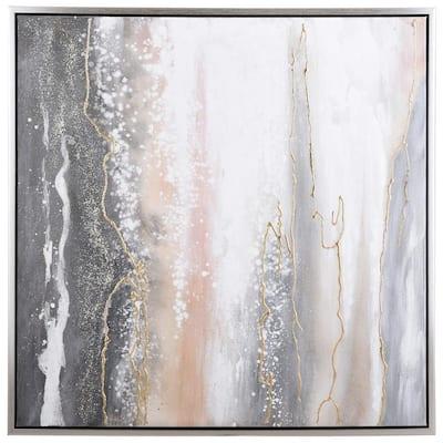 Contemporary Silver Canvas, Metal Framed Wall Art