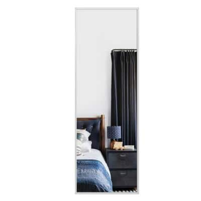 51 in. x 16 in. Modern Rectangle Metal Framed White Shatter-Proof Door Mirror Full Length Wall Mirror for Home