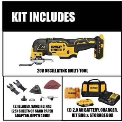 20-Volt MAX XR Cordless Brushless 3-Speed Oscillating Multi-Tool with (1) 20-Volt 2.0Ah Battery & Charger